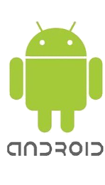 Image of the Android logo identifying the image below as the view on Android devices.