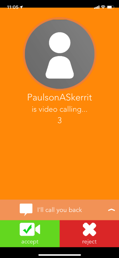 Image of the screen that appears when there is an incoming call.